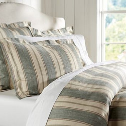 Joshua Stripe Duvet Cover, Full/Queen, Blue - These classic stripes easily coordinate with other patterns and colors to effortlessly bring a room together. Made of linen/cotton blend. Duvet cover has interior ties and a button closure. Sham has an envelope closure. Duvet cover, sham and insert sold separately. Machine wash. Imported.