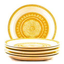"Gladding McBean - Adonis Collection | Gladding McBean Pottery - Set of six earthenware dinner plates in the ""Hacienda Gold"" pattern from Franciscan Ware, a product line of Gladding McBean & Co.  This geometric and floral pattern was produced from 1965-1983.  Fine condition."
