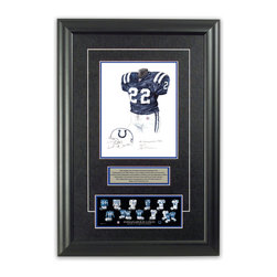 "Heritage Sports Art - Original art of the NFL 2005 Indianapolis Colts uniform - This beautifully framed piece features an original piece of watercolor artwork glass-framed in an attractive two inch wide black resin frame with a double mat. The outer dimensions of the framed piece are approximately 17"" wide x 24.5"" high, although the exact size will vary according to the size of the original piece of art. At the core of the framed piece is the actual piece of original artwork as painted by the artist on textured 100% rag, water-marked watercolor paper. In many cases the original artwork has handwritten notes in pencil from the artist. Simply put, this is beautiful, one-of-a-kind artwork. The outer mat is a rich textured black acid-free mat with a decorative inset white v-groove, while the inner mat is a complimentary colored acid-free mat reflecting one of the team's primary colors. The image of this framed piece shows the mat color that we use (Medium Blue). Beneath the artwork is a silver plate with black text describing the original artwork. The text for this piece will read: This original, one-of-a-kind watercolor painting of the 2005 Indianapolis Colts uniform is the original artwork that was used in the creation of this Indianapolis Colts uniform evolution print and tens of thousands of other Indianapolis Colts products that have been sold across North America. This original piece of art was painted by artist Nola McConnan for Maple Leaf Productions Ltd. Beneath the silver plate is a 3"" x 9"" reproduction of a well known, best-selling print that celebrates the history of the team. The print beautifully illustrates the chronological evolution of the team's uniform and shows you how the original art was used in the creation of this print. If you look closely, you will see that the print features the actual artwork being offered for sale. The piece is framed with an extremely high quality framing glass. We have used this glass style for many years with excellent results. We package every piece very carefully in a double layer of bubble wrap and a rigid double-wall cardboard package to avoid breakage at any point during the shipping process, but if damage does occur, we will gladly repair, replace or refund. Please note that all of our products come with a 90 day 100% satisfaction guarantee. Each framed piece also comes with a two page letter signed by Scott Sillcox describing the history behind the art. If there was an extra-special story about your piece of art, that story will be included in the letter. When you receive your framed piece, you should find the letter lightly attached to the front of the framed piece. If you have any questions, at any time, about the actual artwork or about any of the artist's handwritten notes on the artwork, I would love to tell you about them. After placing your order, please click the ""Contact Seller"" button to message me and I will tell you everything I can about your original piece of art. The artists and I spent well over ten years of our lives creating these pieces of original artwork, and in many cases there are stories I can tell you about your actual piece of artwork that might add an extra element of interest in your one-of-a-kind purchase."