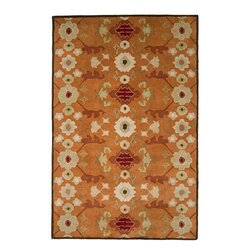 JRCPL - Hand-tufted Orange Wool Rug (5' x 8') - This plush,hand-tufted wool rug showcases simplified patterns and contemporary scales. The rug includes shades of orange,white and brown in a floral pattern.