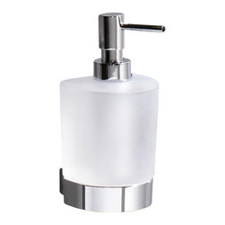 Gedy - Wall Mounted Rounded Frosted Glass Soap Dispenser With Chrome Mounting - Wall mounted contemporary style curved soap dispenser. Hand gel dispenser container is made out of frosted or satin glass. Lotion dispenser mount and pump are made out of brass with a polished chrome finish. Made in Italy by Gedy. Wall hung curved soap dispenser. Frosted or satin glass container. Contemporary, modern design. From the Gedy Kent Collection.