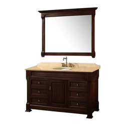 Wyndham Collection - 55 in. Single Bathroom Vanity - Includes matching mirror, natural stone counter and backsplash with porcelain sinks. Faucet not included. Beautiful transitional styling. White under mount sink. Ivory marble top. Floor-standing linen tower. Hand carved and stained cabinet. Mirror glass thickness: 1 in.. 8 in. widespread three hole faucet mount. Plenty of storage space. Engineered to prevent warping and last a lifetime. Highly water-resistant low V.O.C. finish. Twelve stage wood preparation, sanding, painting and hand-finishing process. Fully extending side-mount drawer slides. Concealed door hinges. One door and six deep doweled drawers. Metal hardware with antique bronze finish. Warranty: Two years. Made from environmentally friendly, zero emissions solid oak hardwood. Dark cherry finish. Vanity: 55 in. W x 23 in. D x 35 in. H. Mirror: 50 in. L x 41 in. H (56 lbs.). Cabinet weight: 188 lbs.. Counter weight: 102 lbs.. Sink weight: 13 lbs.. Care InstructionsA new edition to the Wyndham Collection, the beautiful Andover bathroom series represents an updated take on traditional styling. The Andover is a keystone piece, with strong, classic lines and an attention to detail.