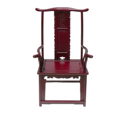 Golden Lotus - Dark Red Chinese Ming Style Rosewood Yoke-Back Armchair - This is Yoke-back armchair with protruding end that is made of HuaLi is also called rose wood.  The high yoke-back chair with protruding ends and arms, commonly referred to as the official's hat chair, is the most successful of Chinese chair designs and one of the earliest styles to emerge.  Its sweeping lines of the chair, including the exaggerated arches of the top crest rail and the C-curved back splats, create a sense of movement.  Its very profile suggests a more distinctive role in the Chinese home: to receive guests in the mail hall or to be used by scholars in their studies.  Right now, It should be perfect to decorate your living room.