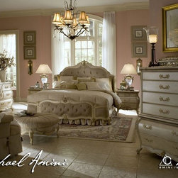 AICO Furniture - Lavelle Blanc 6 Piece Queen Wing Mansion Bedroom Set - 54000QWM - Set includes Queen Bed, Dresser, Mirror and Nightstand