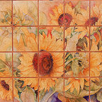 Tile Art Gallery - Splash Decor - A Cutting of Sunflowers - Joanne Porter - Bring in the whole garden with this tile mural by Joanne Porter. Printed on a textured porcelain tile, it will brighten and enliven your kitchen. The bouquet of sunflowers is summer at its peak.