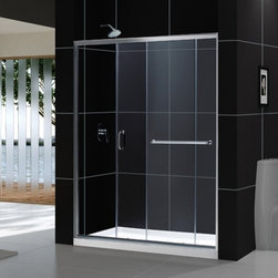 "DreamLine - DreamLine SHDR-0960720-04 Infinity-Z Shower Door - DreamLine Infinity-Z 56 to 60"" Frameless Sliding Shower Door, Clear 1/4"" Glass Door, Brushed Nickel Finish"