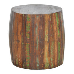 Kosas Collections - Xavier Barrel Side Table - This handmade barrel table makes a colorful and unique addition to any room. As a hand-crafted and painted item, it gives an old-world charm to your decor. The table is made of all-natural reclaimed wood and is small enough to fit anywhere.