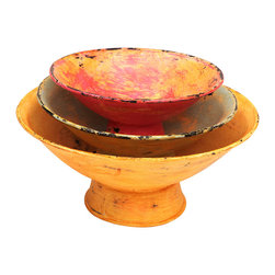 Rhadi Living - Set of Three Multicolored Distressed Bowls - Made in rural villages in India, these fabulous tabletop pieces are made of iron, wire and repurposed washers. Each one is handmade and may have slight variations based on the artisans individual craftsmanship.