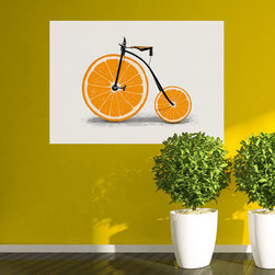 My Wonderful Walls - Florent Bodart Vitamin Orange Bicycle Wall Decal - - Product:  decal of an old fashioned bicycle with orange slice wheels