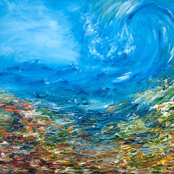 Wave of Calm Over Chaos, Original Painting - This abstract painting hides the idea of calmness taking over chaos. The perfect blue consumes the chaos of life, turning it into peaceful emptiness. From the other point of view, the blue wave could be creating chaos. In any case, this is the relationship of calmness and chaos. There is no one without the other; as without chaos we cannot understand the true calmness. On one hand this is a very textured painting, which adds a special feel to the chaos part. On the other, the wave of sky is smooth and represents calmness.