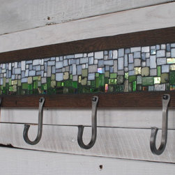 Mosaic Coat Rack with Hand-forged Hooks - This coat rack features a colorful stained glass mosaic in a reclaimed wood frame and four class U-style hooks. Photo by Phoenix Handcraft
