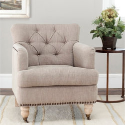 Manchester Taupe Brass Nailhead Club Chair - I love, love, love this chair! I love the wooden legs with casters, the fabric, the nailhead and the tufting. They make such a great combination!