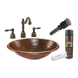 """Premier Copper Products - Premier Copper Products BSP2_LO19RDB 19"""" Self Rimming Copper Sink Package - Premier Copper Products BSP2_LO19RDB 19"""" Self Rimming Copper Sink Package"""