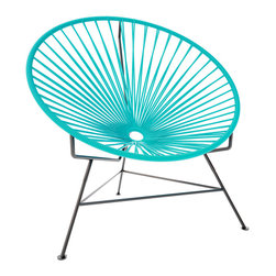Innit Chair, Turquoise Weave On Black Frame - This iconic chair is perfect for outdoor living, as the woven vinyl is weather poof and easy to clean. But add it to a living room scheme, and it brings the perfect pop of personality. You can order from a rainbow of colors to contrast the black base or stick with the classic all-black design for a monochromatic look.