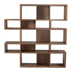 Temahome - London Composition 2010-002, Walnut Frame, Walnut Backs - The London modular bookshelf presents a charismatic, yet truly functional product that can be set against a wall or used as a room divider. With multiple color options you can choose a shelf to be completely in one finish or else contrast the finishes so that the backs and dividers are different from the frame.  Available in three heights, the London is versatile for every sort of interior,  and you can set your imagination free and adapt this piece to create the desired ambiance.