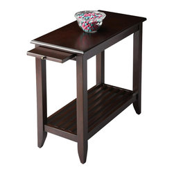 Butler - Chairside Table in Merlot - This transitionally styled table provides beauty and function to any space