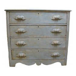 Victorian Painted Dresser - This Victorian Eastlake dresser in central Texas and painted it in cream and aqua to give it a soft shabby chic look!