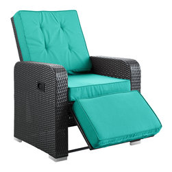 Modway - Commence Patio Armchair Recliner EEI-985 Espresso Turquoise - Kick back and enjoy sunrays and pleasant drifts of wind in the Commence outdoor recliner. While televisions may not be as weather resistant, rest assured that your relaxation time wont be lacking without it. Commence features foam padded all-weather cushions, and a lean back mechanism that keeps you comfortably lounging with ease. Savor your beverage of choice, book or mid-day power nap, and refresh yourself with a synthetic rattan weave outdoor recliner made to your specifications.