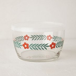 "Anthropologie - Glass Food Storage Bowl - Glass, BPA free plastic lidDishwasher and microwave safe16 oz2.5""H, 4.25"" diameterUSA"