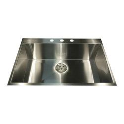 "Nantucket Sinks - Nantucket Sink zr3322-16 - 33"" large Rectangle Single Bowl self rimming zero rad - Self Rimming drop in 33 Zero Radius Single Bowl Constructed From Premium Grade 16 Gauge 304 Stainless Steel."
