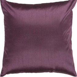"""Surya - Surya HH-039 Solid Decorative Pillow, 22"""" x 22"""", Poly Fiber Filler - Showcase a modern, dignified look from room to room with this immaculate pillow. The sparkling deep purple coloring maintains elements of understated simplicity while still building an ornate feel within your space. This pillow contains a zipper closure and provides a reliable and affordable solution to updating your home's decor. Genuinely faultless in aspects of construction and style, this piece embodies impeccable artistry while maintaining principles of affordability and durable design, making it the ideal accent for your decor."""