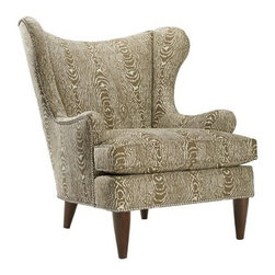 Homeware Rizzo Accent Chair - Camel - The Homeware Rizzo Accent Chair - Camel is a bold, beautiful chair that will be the center of attention in any room. A modern take on a classic design, this gorgeous, wingback chair features a gorgeous wood frame in a rich, espresso finish, an accenting, pewter nailhead trim, and an oversized, graphic wood-grain pattern in beautiful, tightly spun taupe and brown. Its concave back, sloping and slightly clipped wings, and low arms ensures that this sophisticated chair is as comfortable as it is beautiful.Not available for sale in, or delivery to, the state of California.