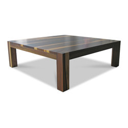 Augusto Coffee Table - This contemporary coffee features responsibly harvested solid wood from Argentina. Shown in cherry, natural semi-gloss finish. Available in any wood, any finish, for shipment anywhere in the world.