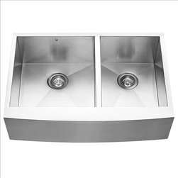 Vigo - VIGO VG3320BL Farmhouse Double Bowl Sink - Fully undercoated and padded with unique multi layer sound eliminating technology, which also prevents condensation