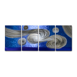 Miles Shay - Metal Art Wall Art Decor Abstract Contemporary Modern Sculpture- Winds Blue - This Abstract Metal Wall Art & Sculpture captures the interplay of the highlights and shadows and creates a new three dimensional sense of movement as your view it from different angles.