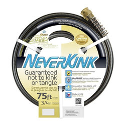 Apex 9884-75 3/4-Inch x 75-Ft. Commercial-Duty Garden Hose - Reflex mesh for self straightening; will not kink, twist or tangle. Crush resistant fittings. Anti-microbial protection; guards against mold and mildew that can cause hose deterioration. All weather flexible to 45 degrees F. Solid brass, crash resistant couplings and power coil collar helps prevent kinking at the faucet.