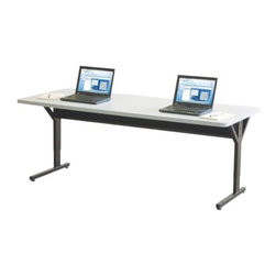 "Balt - ""Balt Brawny Adjustable Height Training Table, Gray"" - ""Heavy-duty Brawny Training Tables are ideal for use in training rooms, classrooms, as workstations, or as general purpose tables for any work area. Height adjustable tables can be set from 25 1/2"""" to 33 1/2"""" and are available with 72x30 Gray top. Top is a hefty 1 1/4"""" thick scratch-resistant HPL with grommets. Black powder-coated steel frame includes both glides and 3"""" casters (2 locking). Supporting underside stretcher bar provides superior structural strength and durability and includes a steel cable management tray that provides additional stabilization. 10 year guarantee. GREENGUARD Indoor Air Quality Certified and GREENGUARD Children and Schools Certified SM. Tested to support up to 300 lbs.Dimensions (W x L x H): 72"""" x 30"""" x 33.5""""Weight: 108 lbs.Height adjustable tables can be set from 25 1/2"""" to 33 1/2"""" available with 72x30 hefty 1 1/4"""" thick scratch-resistant HPL Gray top with grommetsBlack powder-coated steel frame includes both glides and 3"""" casters (2 locking)Supporting underside stretcher bar provides superior structural strength and durability and includes a steel cable management tray10 year guaranteeGREENGUARD Indoor Air Quality Certified and GREENGUARD Children & Schools Certified SM"""