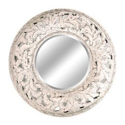 "Lofty - Ardant Antique Wht Mirror38x38 - Lofty Ardant PU033Y Round Antique White Framed Mirror  PU Mirror Frame  4mm thickness   1"" Bevelled Silver Mirror  Metal Hangers  MDF Backboard  Includes: Hangers  Screw Bag  Wire.  Dimensions: 38.1"" x 38.1"" x 3.2"".   Bold  vibrant designs make Ardant mirrors the perfect combination of beauty and functionality. Top-tier styling and beautiful attention to detail make these mirrors eye-catching additions in your home. Modern  playful design and quality craftsmanship combine to create contemporary flair for any room.  This item cannot be shipped to APO/FPO addresses. Please accept our apologies."