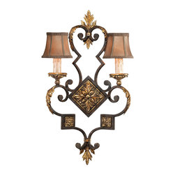 Fine Art Lamps - Castile Sconce, 234350ST - For anywhere you need some elegance and old-world charm, this two-light wall sconce will surely dazzle. It recalls old Spain with a body in an antiqued iron finish with gold-leaf accents. And the two hand-sewn silk shades with braided trim add sumptuous softness and warmth.