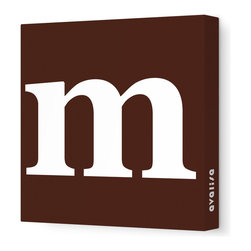 "Avalisa - Letter - Lower Case 'm'  Stretched Wall Art, 18"" x 18"", Brown - Spell it out loud. These lowercase letters on stretched canvas would look wonderful in a nursery touting your little one's name, but don't stop there; they could work most anywhere in the home you'd like to add some playful text to the walls. Mix and match colors for a truly fun feel or stick to one color for a more uniform look."