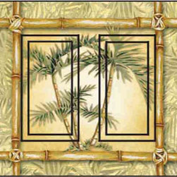 IdeaStix - Bamboo Palm Double Rocker Peel and Stick Switch Plate Cover - SwitchStix transforms an ordinary switch plate into beautiful art decorations.  Made from proprietary rubber-resin, Premium SwitchStix Peel and Stick Decor offers a quick and easy solution for decorating plain switch plates.  With features like water/heat/steam-resistant, nontoxic, washable, removable and reusable, it is ideal for any room in the house or office.  SwitchStix fits standard size switch plates and applies right over the switch plate and it even covers the screw holes.  Suitable for standard size non-porous and smooth switch plates.  Discard thin border around rocker switch.  Surface can be washed with most household cleaning products.