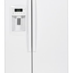 GE - GZS23HGEWW 22.7 Cu. Ft. Capacity Counter-Depth Side-By-Side Refrigerator With Di - The integrated shelf support system adjustable slide out spill proof glass shelves adjustable clear look door bin and the in door beverage rack will make organizing your entire refrigerator simple