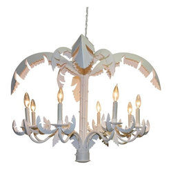 Dr Livingstone I Presume - White Iron and Tole Eight Light Palm Chandelier by Dr Livingstone I Presume - Designed by the eccentric Carleton Varney, this fabulous fixture pays homage to classic Palm Beach design mixed with modern chic-ness. Make a powerful statement using the subtle finish of white. (DLIP)