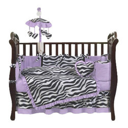 Sweet Jojo Designs - Purple Zebra 9-Piece Crib Bedding Set - The Purple Zebra 9-Piece Crib Bedding Set by Sweet Jojo Designs has all that your little bundle of joy will need. This bedding set features a super contemporary zebra print fabric paired with vivid solids to create a graphic, modern look. This collection uses the stylish colors of purple, black and white. The design uses 100% cotton fabrics that are machine washable for easy care.  This wonderful set will fit all cribs and toddler beds.