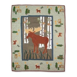 Patch Magic - Moose Crib Quilt - 36 in. W x 46 in. L. Handmade, hand quilted. 100% CottonMachine washable, but for best care hand wash in cold water. Do not machine dry. Do not dry clean. Line or flat dry only.
