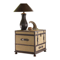 Lexington - Lexington Fieldale Lodge Gunnison Trunk Table in Distressed Brown Mahogany - Lexington - End Tables - 010455969 - The fabric covered exterior is exquisitely detailed with leather strapping, nailhead trim, and aged antique brass hardware. The bottom drawer provides storage, and the top lid opens to reveal a sliding removable tray with file storage below.