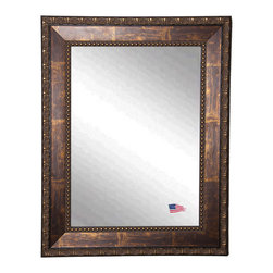 Rayne Mirrors - USA Made Traditional Copper Bronze Wall Mirror - The handsomeRoman Copper Bronze Wall Mirrorwill add a touch of elegance to any room. The 3 inch wooden frame features a smooth cracked bronze finish to complement a wide range of decor. This mirror's abstract carved design and inner beaded border gives it a unique look.  Rayne's American Made standard of quality includes; metal reinforced frame corner  support, both vertical and horizontal hanging hardware installed and a manufacturers warranty.