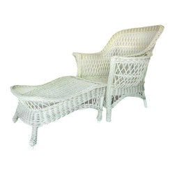 """Pre-owned Wicker Armchair with Ottoman - A white painted wicker armchair with a mismatched white painted ottoman. This set does not include cushions. Grab a cup o' coffee and a book and relax on the patio in this lovely set.     Seat Height without cushion is 12-1/2"""".  Ottoman measures 20"""" W x 32"""" D x 15"""" H."""