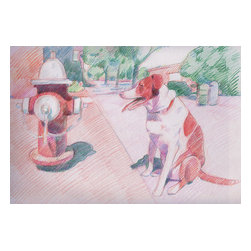 Downtown, Original, Drawing - Colored pencil drawing of my dog and a fire hydrant.