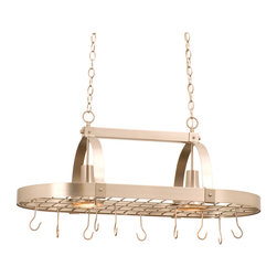 Kalco Lighting - Kalco Contemporary 2-Light Pot Rack - Shown in Satin Nickel finish. The Contemporary Pot Rack is a sleek and sophisticated lighted pot rack. This design, featured in Kalco's exclusive Satin Nickel finish, provides chandelier-like radiance with a sleek design that lets your high-end cookware, cabinetry, countertops and ultimately your personal taste take center stage. Overall size is 36 in. W x 20 in. D 14.5 in. H.