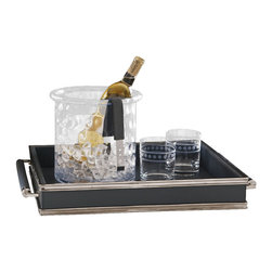 Double Handled Serving Tray - Gray - The color is dark and assertive but classic; the metal is posh and up-to-date. All in all, the Double Handled Serving Tray in Gray is a superb addition of style to your barware or vignette display. Excellent for both indoor and outdoor serving, this leather serving tray keeps glassware from sliding, while distinctive metal accents and hardware make the structure visually interesting.