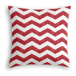 Red & White Chevron Custom Euro Sham - The secret to those perfectly made beds you eye in magazines? Euro shams. Complete your bed set with a set of Simple Euro Shams for a look that's as stylish as it is snuggly.  We love it in this graphic chevron in a washed berry red and ivory on lightweight linen that adds a punch of color to the contemporary home.