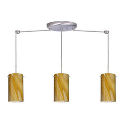 Besa Lighting - Besa Lighting 3BB-4404HN Stilo 3 Light Linear Pendant - Stilo 7 is a classic open-ended cylinder of handcrafted glass, a shape that will stand the test of time. This unique decor is handcrafted, with layered swirls of yellow-amber and golden-brown against white, finished to a high gloss. It's classic swirl pattern and high gloss surface has a truly florid gleam. Honey is a hand-blown glass designed to have a shiny and polished finish. The glass is gathered and rolled into shape a unique pattern is formed that cannot be replicated. This blown glass is handcrafted by a skilled artisan, utilizing century-old techniques passed down from generation to generation. Each piece of this decor has its own unique artistic nature that can be individually appreciated. The cord pendant fixture is equipped with three (3) 10' SVT cordsets and a 3-light linear canopy, two (2) suspension stemhooks included.Features: