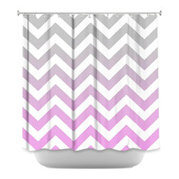 DiaNoche Designs - Shower Curtain Artistic Chevron Pink Grey - DiaNoche Designs works with artists from around the world to bring unique, artistic products to decorate all aspects of your home.  Our designer Shower Curtains will be the talk of every guest to visit your bathroom!  Our Shower Curtains have Sewn reinforced holes for curtain rings, Shower Curtain Rings Not Included.  Dye Sublimation printing adheres the ink to the material for long life and durability. Machine Wash upon arrival for maximum softness on cold and dry low.  Printed in USA.