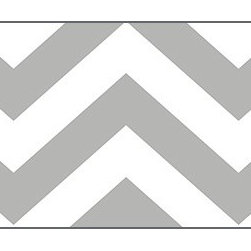 Casart coverings - Chic Chevron Wallcoverings, Silver Gray, Border (13 Sq Ft), Casart Light - Celebrate the easy, elegant and everyday style of Libby Langdon with her fresh geometric designs on Casart repositionable, temporary and reusable wall covering. Chic Chevron is one of the four modern geometrics from the Collection, which can be custom printed on self-adhesive vinyl covering.