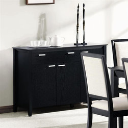 Coaster - Lexton Server w Drawers - Smooth top. Silver horizontal hardware. Clean defined edges. Square legs. Made from solid hardwoods and veneers. Rich distressed black finish. 46.5 in. W x 18 in. D x 33 in. H. WarrantyAccentuate your dining room with the attractive and functional designs of this server. Display decorative items on the surface or use as additional table space during dinner parties or family holiday dinners.